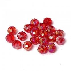Korálky broušené plast 8x6mm 30ks červená s AB
