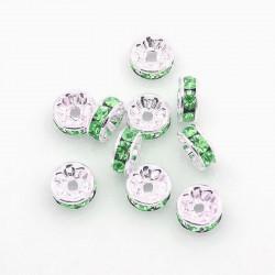 Šatonové rondelky 8x3,5mm 6ks stříbrná, zelená