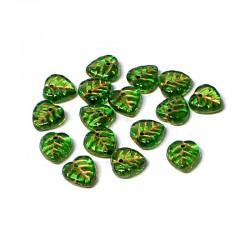Lístečky skleněné 9x9mm 20ks zelená, zlatá