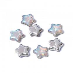 Hvězdičky skleněné 12mm 10ks průhledná, stříbrný pokov