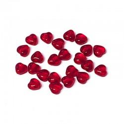 Srdíčka skleněná 6mm 40ks červená