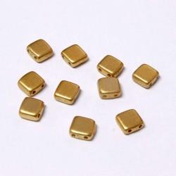 Korálky dvoudírkové 6x6 mm 10ks zlatá