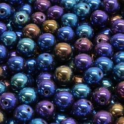 Korálky skleněné 8mm 15ks modrofialový pokov