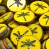 Korálky skleněné vážka 17mm 2ks žlutá, staromosaz
