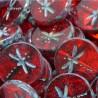 Korálky skleněné vážka 17mm 2ks červená průhledná, staromosaz