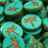 Korálky skleněné vážka 17mm 2ks tyrkysová, staroměď