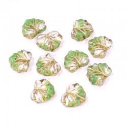Korálky javorový list 13x11mm 10ks zelenoprůhledná, zlatá