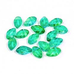 Lístečky skleněné 11x7mm 16ks zelená s tyrkysovou