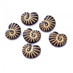 Korálky skl. lastura 17x13mm 6ks černá, zlatá