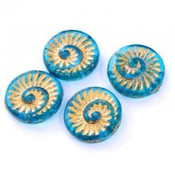 Korálky skl. lastura 18x18mm 4ks tyrkysová průsvitná, zlatá