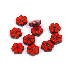 Korálky skl. kytičky 10mm 10ks červeno-oranžová