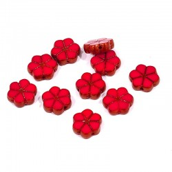 Korálky skl. kytičky 10mm 10ks červená, měděná