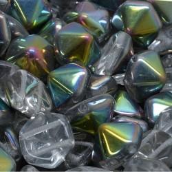 Korálky dvoudírkové Hexagon 12x12mm 6ks průhledná, barevný pokov