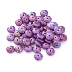 Korálky skleněné čočka 6x3mm 50ks fialová mramor., barevné odlesky