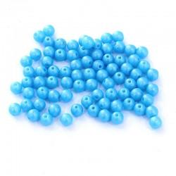 Korálky skleněné 4mm 80ks modrá nebeská