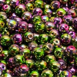 Korálky skleněné 6mm 30ks zeleno-fuchsiová, kovová