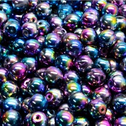 Korálky skleněné 6mm 30ks modro-fuchsiová, kovová