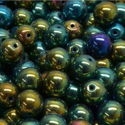 Korálky skleněné 8mm 20ks zeleno-modrá, kovová