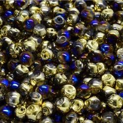 Korálky skl. houbičky 4x3mm 50ks  průhledná, modro-zlatý pokov