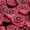 Kor. skleněné srdíčko s růží 17mm 4ks červená tmavá, černá