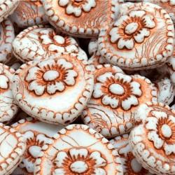 Korálky skl. srdíčko s růží 17mm 4ks bílá, měděná