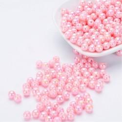 Akrylové korálky 8mm 20ks  růžová světlá, AB lesk