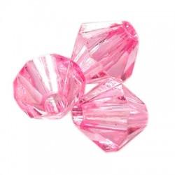 Korálky broušené plast sluníčko 10mm 20ks růžová