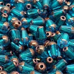 Korálky skleněné broušené 8x6mm 15ks petrolejová, staroměděná