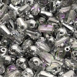 Korálky skleněné broušené 8x6mm 15ks průhledná, stříbrný pokov