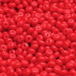Korálky skl. rondelky 2,5x4mm 80ks červená jahodová