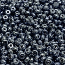 Korálky skl. rondelky 2,5x4mm 80ks hematitová