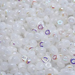 Korálky skl. rondelky 2,5x4mm 80ks bílá, AB lesk