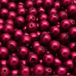 Voskované perle 6mm 25ks vínová matná