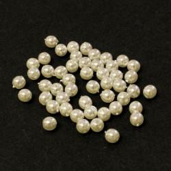 Voskované perle 4mm 50ks bílá