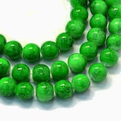 Korálky skleněné mramorované 6mm 30ks zelená