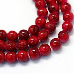Korálky skleněné mramorované 6mm 30ks červená
