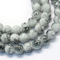 Korálky skleněné mramorované 6mm 30ks šedá