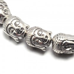 Korálek kovový Buddha 11x9x8mm 1ks starostříbro