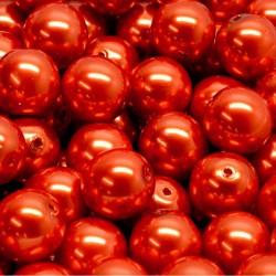 Voskované perle 10mm 12ks cihlová
