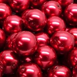 Voskované perle 12mm 10ks červená jahodová