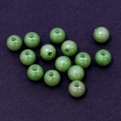 Voskované perličky plast 10mm 15ks zelená světlá