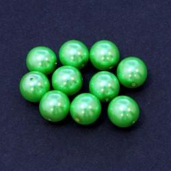 Voskované perle 12mm 10ks zelená hrášková