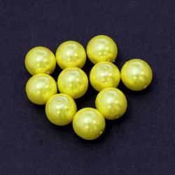Voskované perle 12mm 10ks žlutá