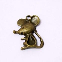 Přívěšek myška 23x13mm 1ks staromosaz