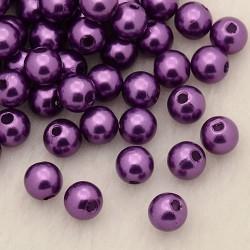 Voskované perličky plast 6mm 50ks purpurová