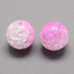 Korálky práskané plast 12mm 6ks perlově růžová, průhledná