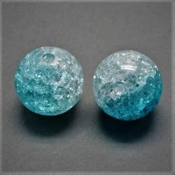 Korálky práskané plast 12mm 6ks modrá, průhledná