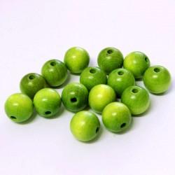 Korálky dřevěné 10mm 15ks zelená