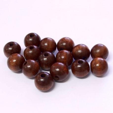 Korálky dřevěné 10mm 15ks tmavě hnědá