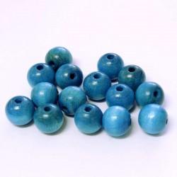Korálky dřevěné 10mm 15ks modrá